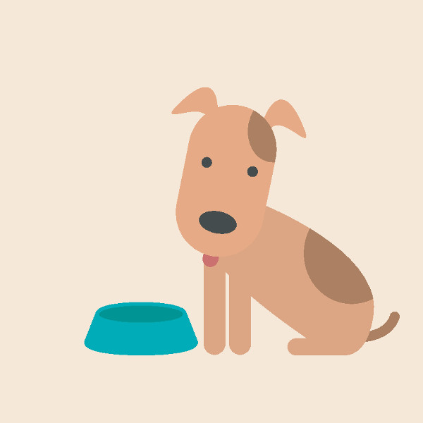 Cute Dog and empty bowl. Hungry dog waiting for food. Flat design